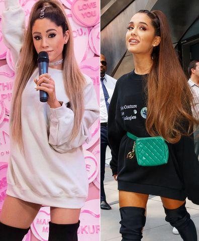 Wax Ariana Grande (L) and real Ariana Granda (R).