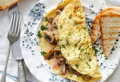 Tuesday: Fluffy cheese and mushroom omelette