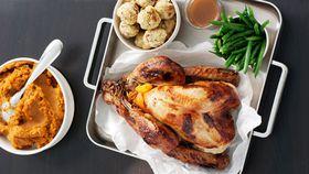 Honey-glazed turkey with orange-pecan stuffing