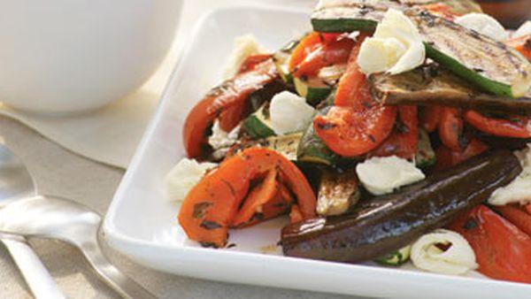 Marinated vegetables with mozzarella