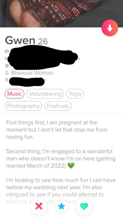 Pregnant bride to be sets up Tinder account