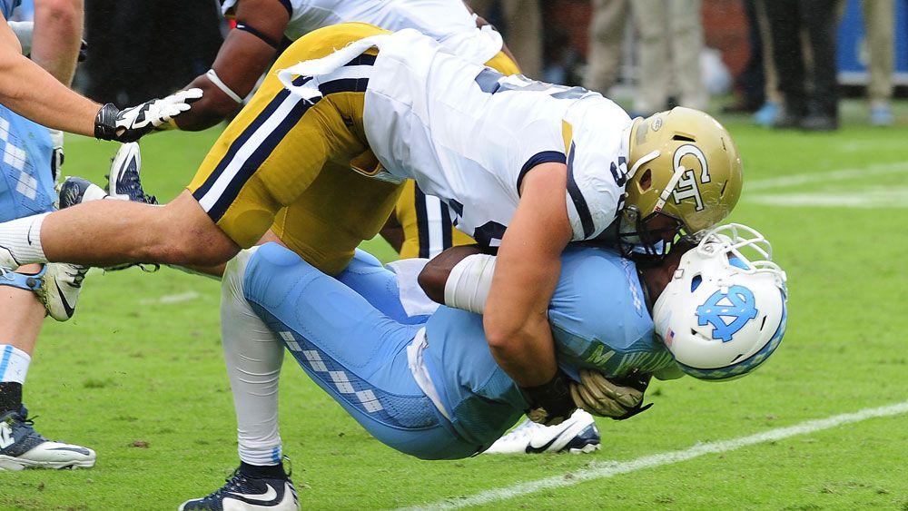 Adam Gotsis makes a tackle. (Getty)