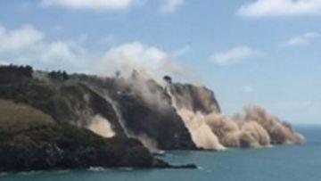 Cliffs collapse following the Christchurch quake.