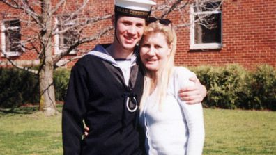 David Stafford Finney pictured with his mother Julie-Ann in 1998 when he was at recruit school.
