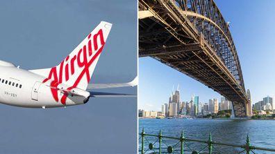 Virgin Australia jet / Sydney Harbour Bridge