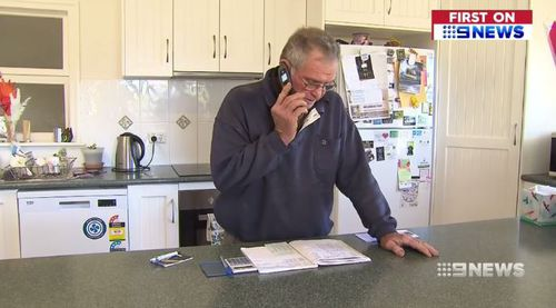 Jonathan Lewis is fed up with the constant calls from phone scammers. Picture: 9NEWS