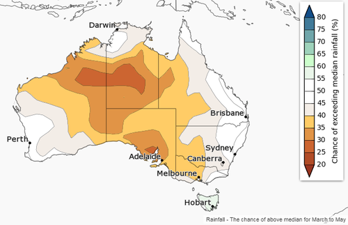 Adelaide and Melbourne are the most likely to have a dry season. (BoM)
