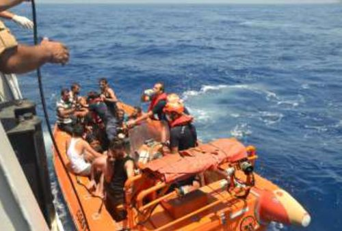 Rescue crews were called in to help the people on the boat. Nineteen of them died and 25 are still missing. Picture: Getty