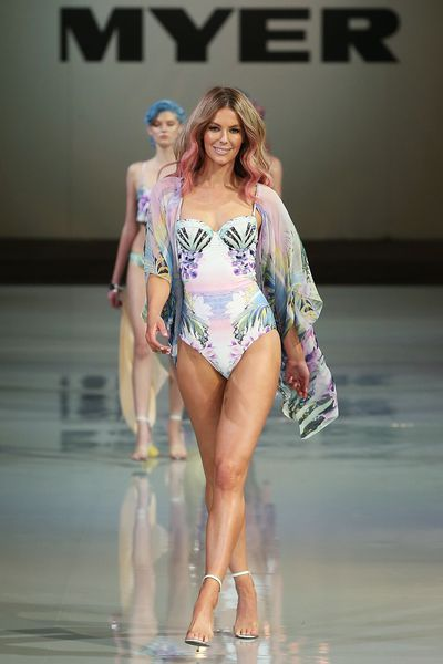Jennifer Hawkins wearing one of her own Cozi designs during the Myer Spring Summer 2014 launch at in Sydney, August, 2014
