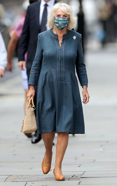 Camilla, Duchess of Cornwall wears a mask as she visits the National Gallery on July 28, 2020 in London, England