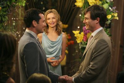 """<div align=""""left""""><B>When:</b> 2008<br/><br/>And we have the list's first gay wedding and the second to feature a co-star officiating the ceremony, with Kitty (Calista Flockhart) doing the honours for no other reason but to save the producers from having to pay an extra.</div>"""