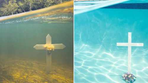 The advertisements feature mock graves underwater. (NSW Government)