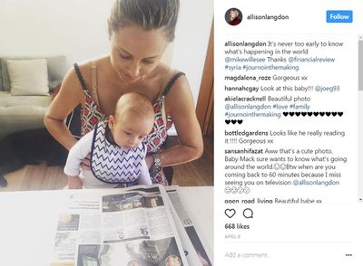 <p>60 minutes reporter Allison Langdon, welcomed her precious first child with husband and fellow reporter Michael Willesee Junior this past January. Little Mack Willesee loves catching up on the news with his Channel 9 journalist mama in the morning!</p>