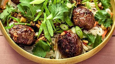 "Recipe:&nbsp;<a href=""http://kitchen.nine.com.au/2017/03/17/14/38/sticky-pork-meatballs-with-crunchy-cashews"" target=""_top"" draggable=""false"">Sticky pork meatballs with crunchy cashews</a>"