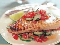 Swordfish with cucumber and tomato salsa