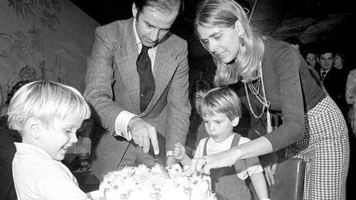 Beau and Hunter Biden celebrating Joe's birthday with his first wife Nelia.