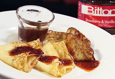 French crepes with strawberry jam