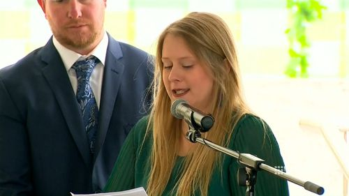 Her sister Emily delivered an emotional eulogy.