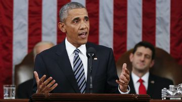 Barack Obama delivers his final State of the Union address. (AAP)