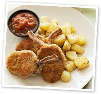 Crumbed lamb cutlets with crunchy potato