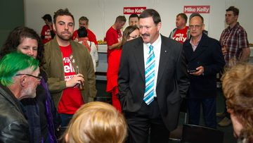 Labor candidate for Eden Monaro, Mike Kelly, with his supporters at the Queanbeyan Leagues Club on January 8, 2020.
