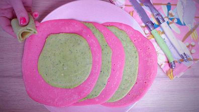 Healthier rainbow pancakes don't need food colouring