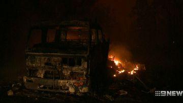 NSW firefighters forced to abandon trucks in intense bushfire winds