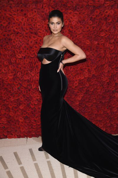 Kylie Jenner wearing Alexander Wang at the Heavenly Bodies: Fashion & The Catholic Imagination Costume Institute Gala at The Metropolitan Museum of Art in New York, May, 2018