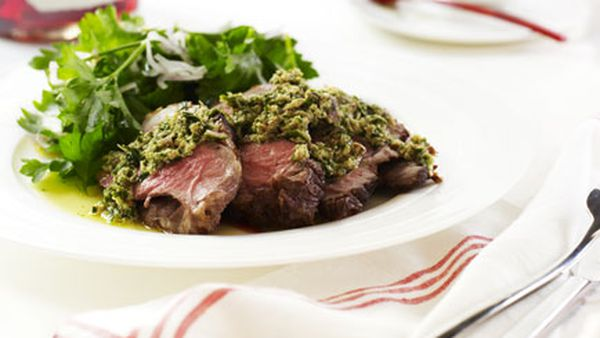 Barbecued leg of lamb with almond and mint sauce