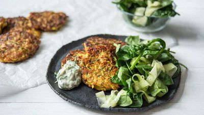 "Recipe: <a href=""https://kitchen.nine.com.au/2017/03/08/11/17/cheesy-fritters-with-dill-and-parsley-mayo"" target=""_top"">Cheesy fritters with dill and parsley mayo</a>"