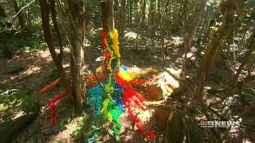 The artworks stretches across two kilometres of track. (9NEWS)