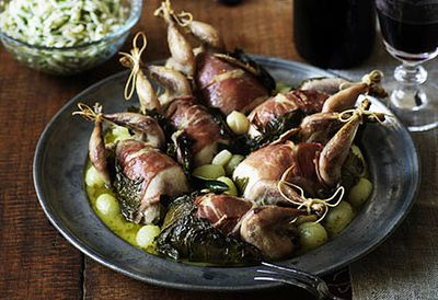 Roast quail in vine leaves