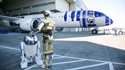 All Nippon Airways (ANA), Japan's largest airline, has unveiled their Star Wars themed plane in Washington, US over the weekend with another two planes with the theme expected to be revealed. (AAP)
