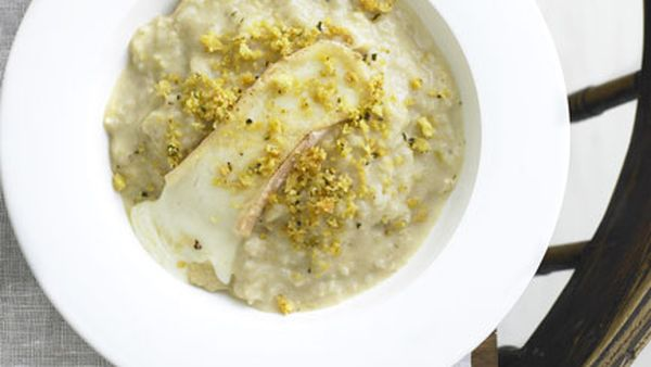 Cauliflower and Taleggio risotto with anchovy pangrattato
