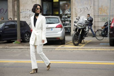 """Fashion buyer <a href=""""http://www.yasminsewell.com/"""" target=""""_blank"""">Yasmin Sewell </a>suited up."""