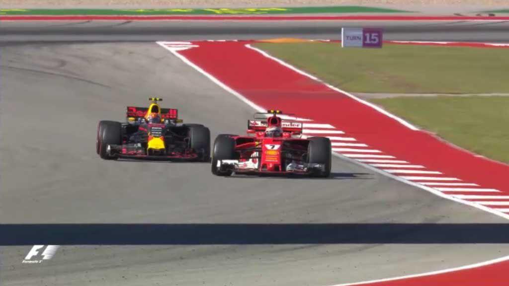 Verstappen leaves track to overtake Raikkonen