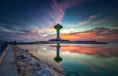 Beautiful sunrise view at Dammam Al Khobar Corniche, Saudi Arabia.