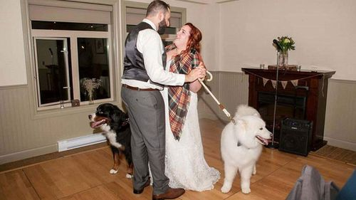 The dogs joined the couple for their first dance. (Stephanie Steiner Photography)