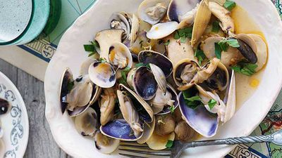 """Recipe:<a href=""""http://kitchen.nine.com.au/2016/05/16/20/15/mushrooms-clams-and-pipis-in-white-wine"""" target=""""_top"""" draggable=""""false"""">Mushrooms, clams and pipis in white wine</a>"""