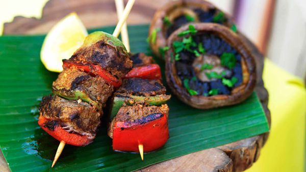 Barbecued mushrooms