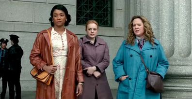(L - R) Tiffany Haddish, Elisabeth Moss and Melissa McCarthy in period crime epic The Kitchen