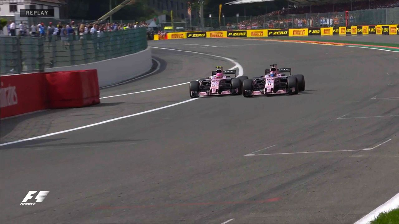Force India drivers collide again