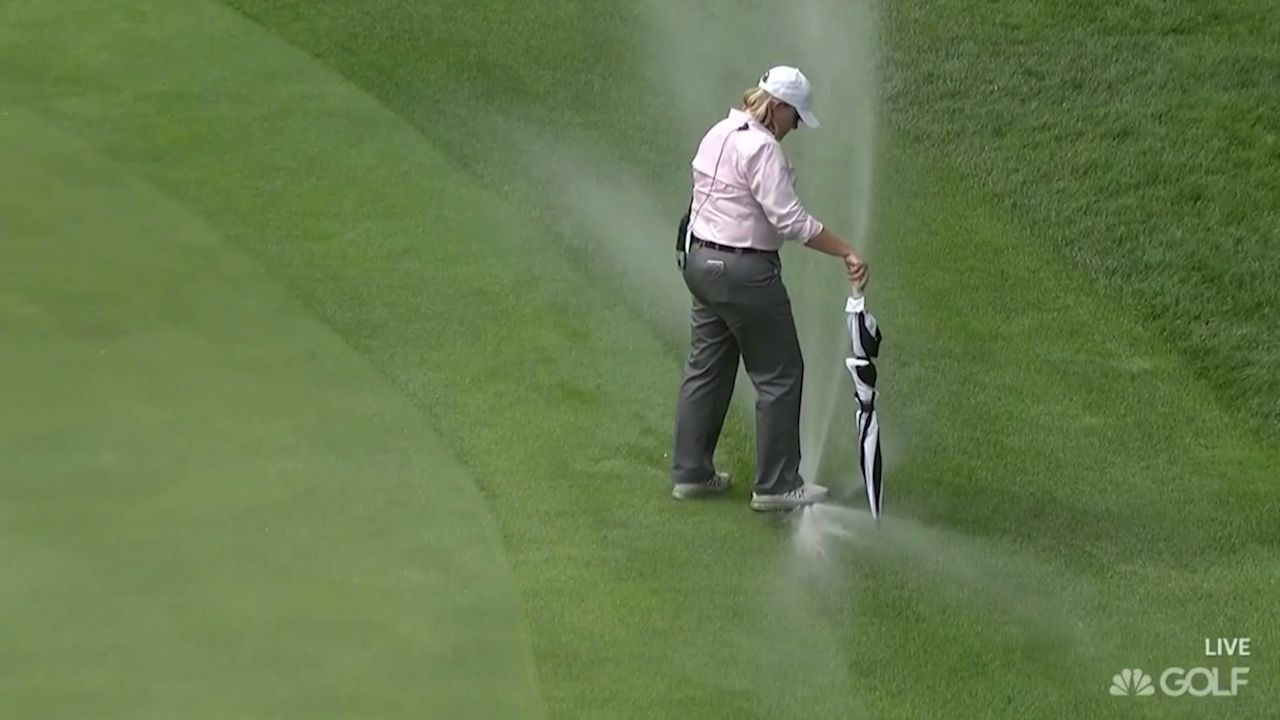Organisers red-faced as sprinkler douses golfers