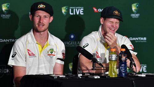 Bancoft left his Aussie captain crying with laughter in their hilarious press conference today. Picture: AAP