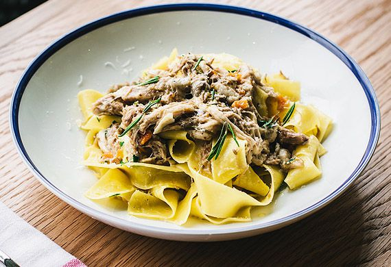 Pappardelle with braised suckling pig ragu, rosemary and parmesan