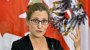Canadian International Trade Minister Chrystia Freeland attends a press conference in Vienna, Austria,on September 21, 2016. (Freeland)
