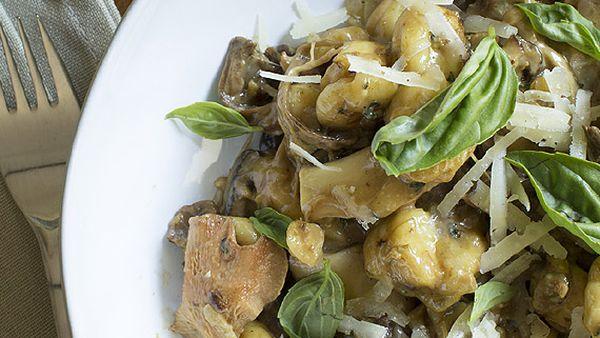 Mushroom and hazelnut gnocchi with manchego and basil
