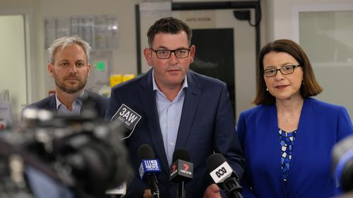 Premier, Daniel Andrews, the Minister for Health, Jenny Mikakos, and the Chief  Health Officer, Brett Sutton.