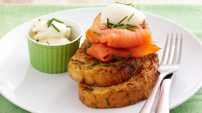 "Recipe:&nbsp;<a href=""http://kitchen.nine.com.au/2016/05/17/10/12/herbed-french-toast-with-smoked-salmon-creme-fraiche"" target=""_top"" draggable=""false"">Herbed French toast with smoked salmon and creme fraiche<br /> </a>"