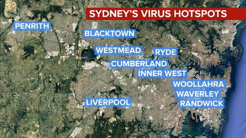 The COVID-19 hotspots in Sydney where NSW Chief Health Officer Dr Kerry Chant  wants to see an increase in testing, to track community transmission.
